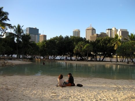 The man made beach on South Bank