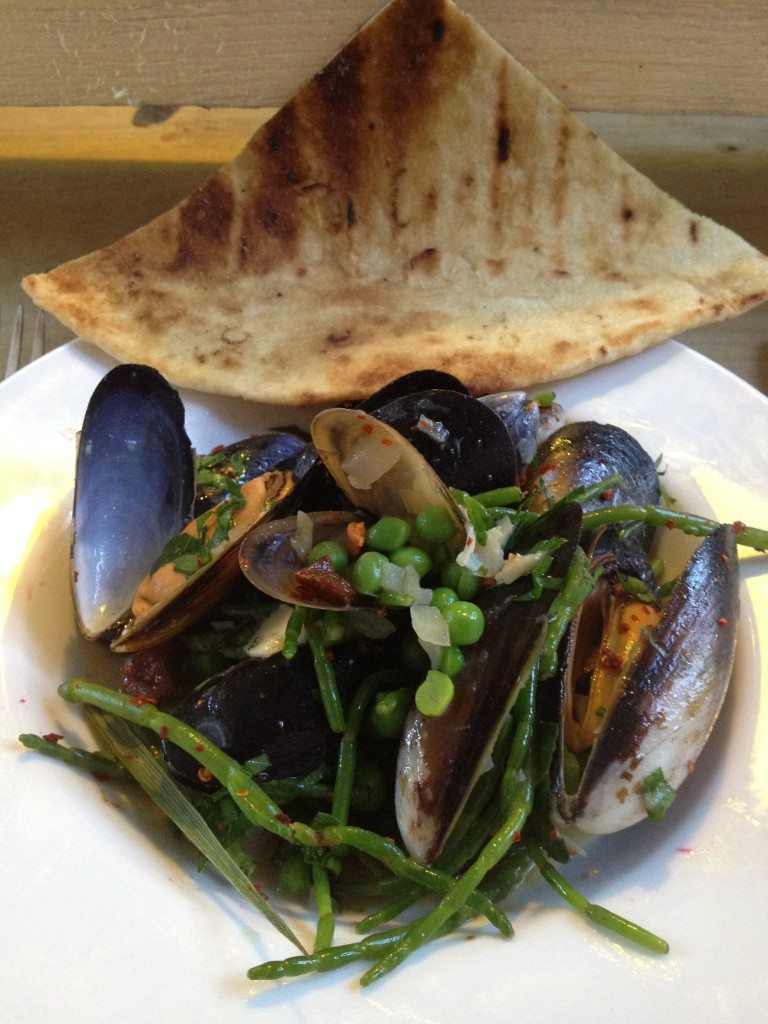 Mike+Ollie - Organic Scottish mussels with home-cured free range chorizo, organic cider, peas, samphire and homemade flatbread