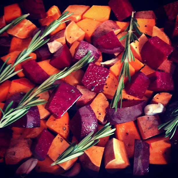 Roast sweet potato, butternut squash and beetroot
