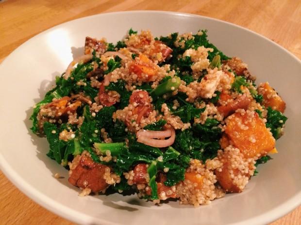 Warm sweet potato, quinoa & kale salad
