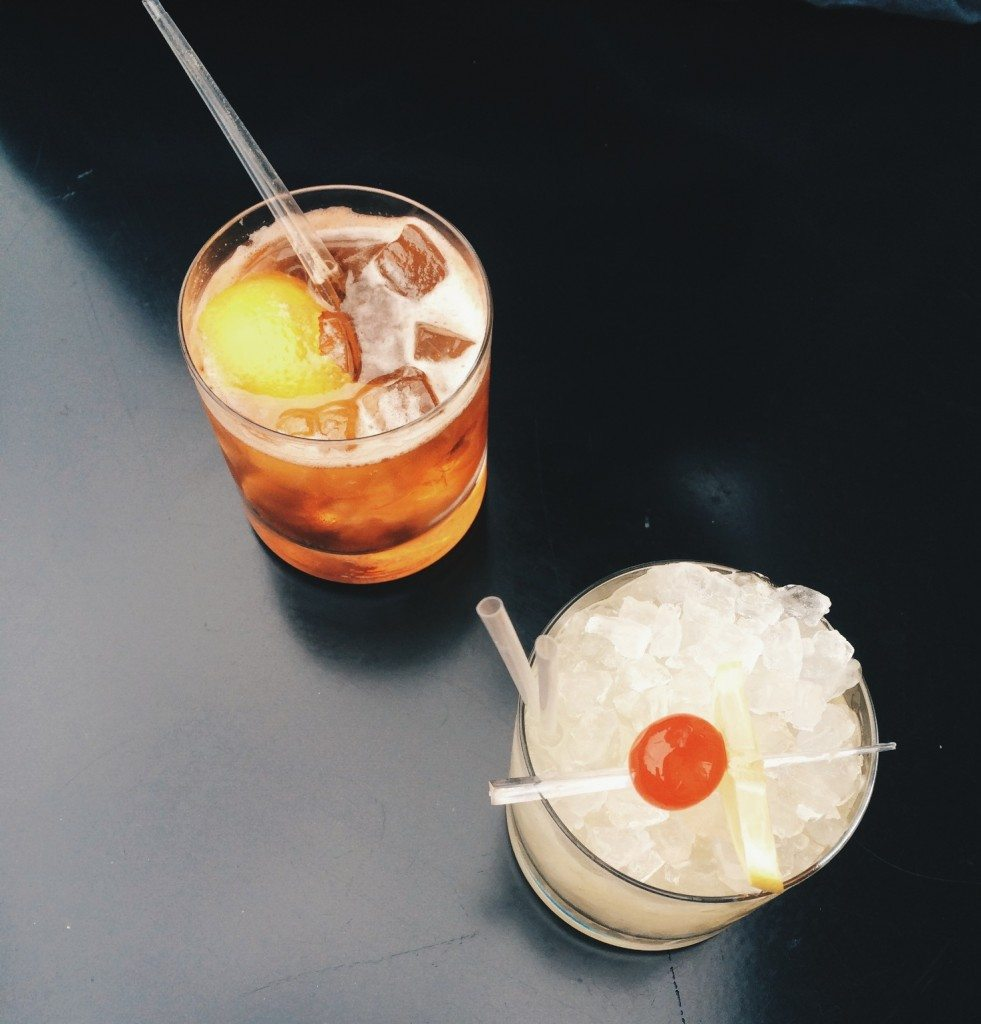 An old fashioned and whiskey sour