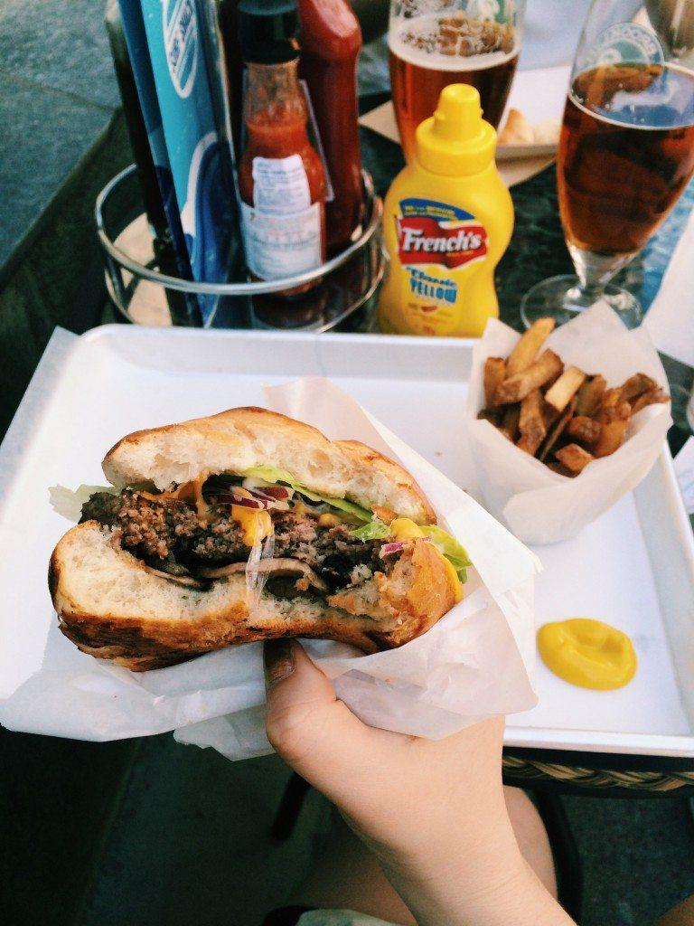 Yummy hamburger at Surf Shack