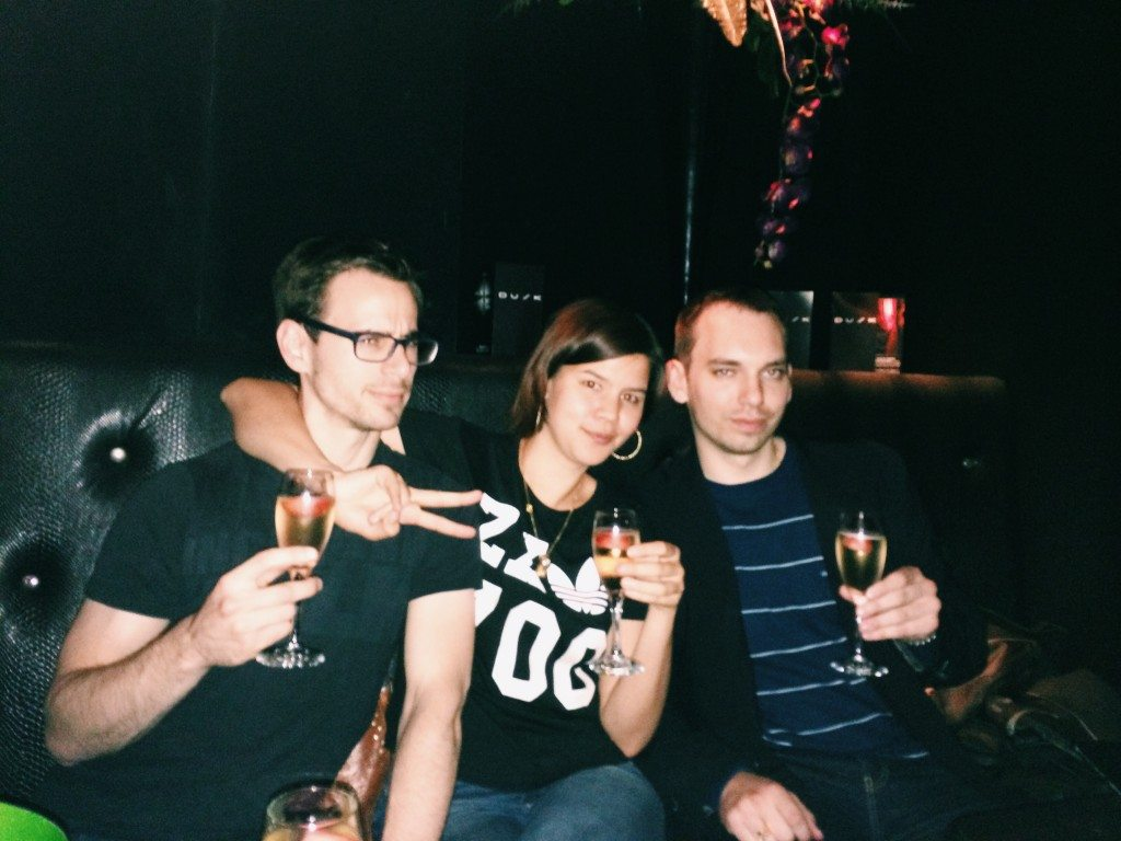 Dave, Cata and Martin sipping on Champagne