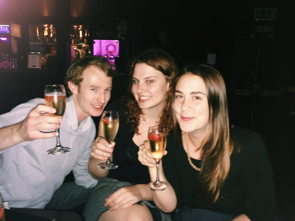 Neil, Ina and Orsi sipping on champagne